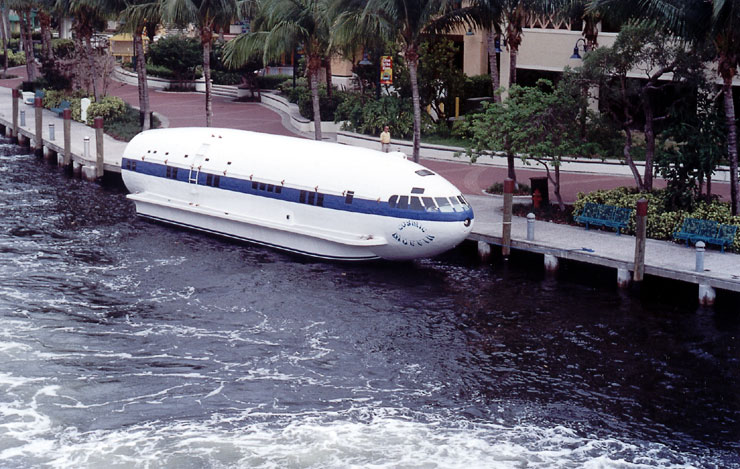 The plane boat at dock.
