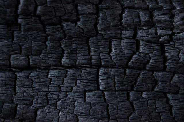Up-close piece of charcoal