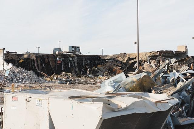 Debris from a fallen building