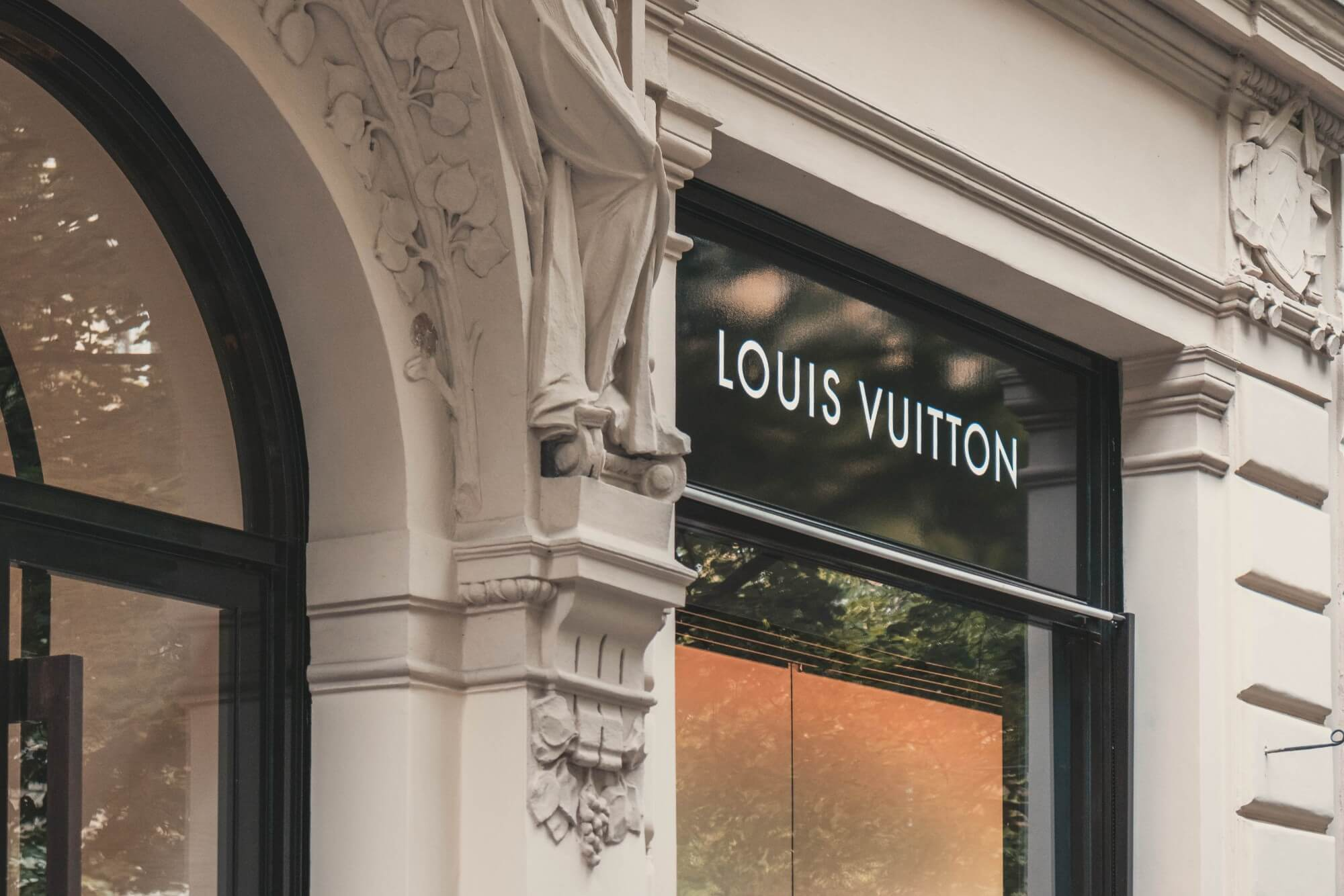 Store window sign of Louis Vuitton