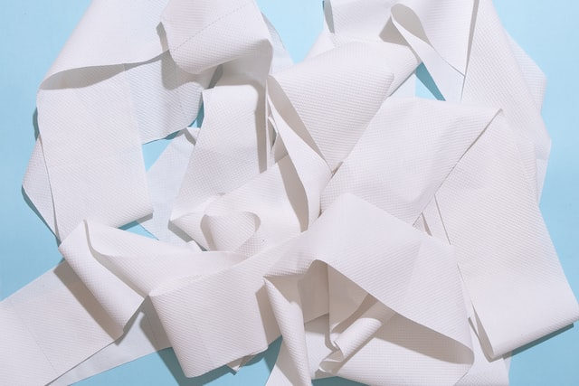 Roll of paper towel unraveled in a pile