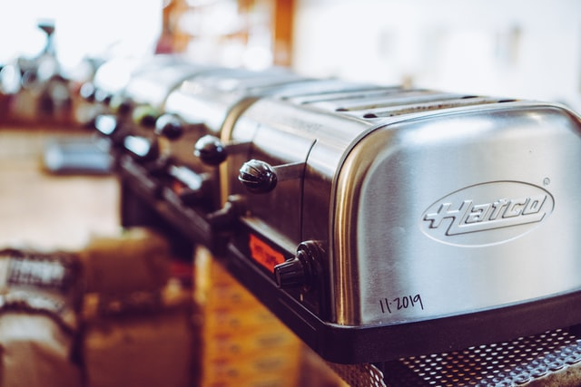 Row of toasters at cafe