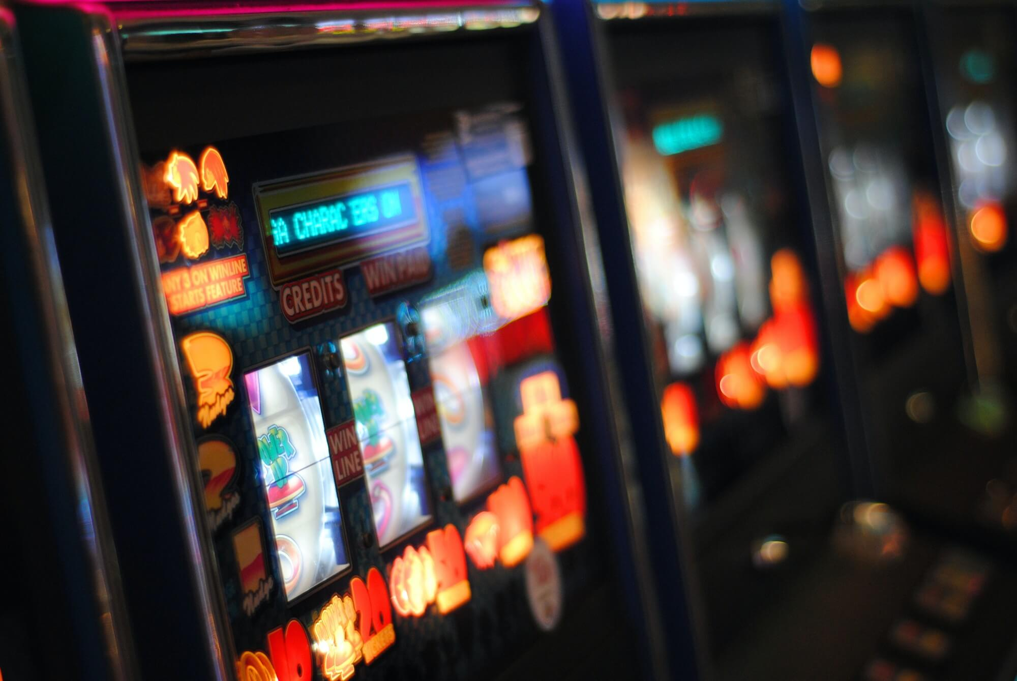 Blurry, close shot of slot machines