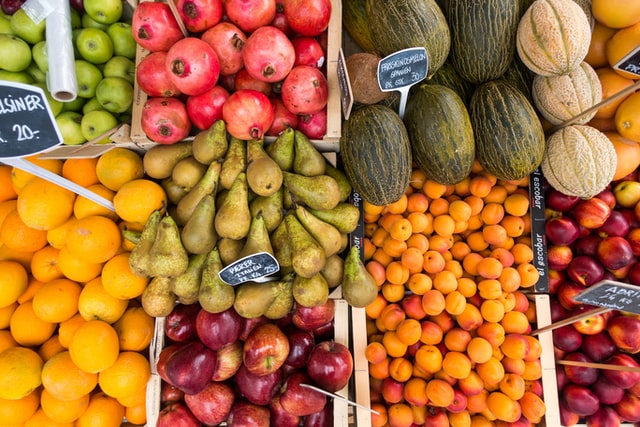 Fruits in grocery store sections