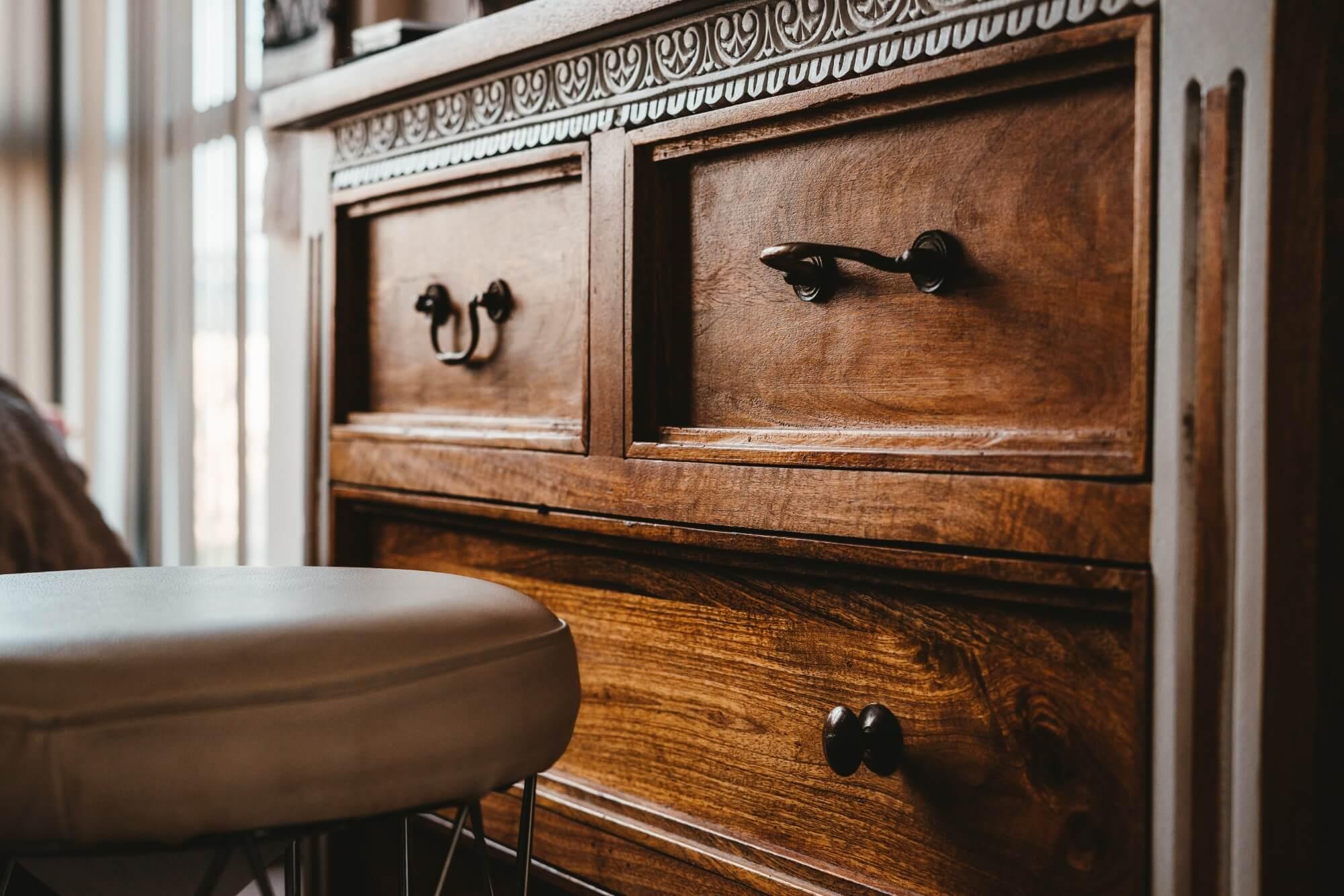 Wooden dresser drawers