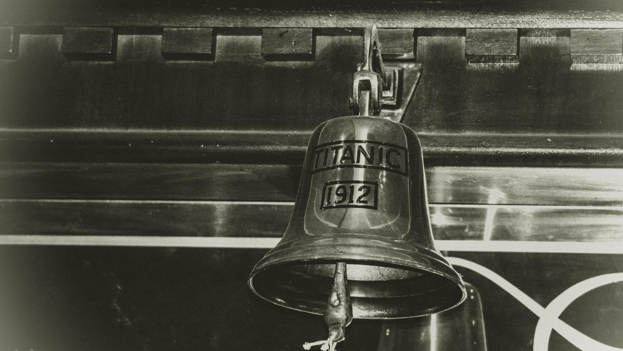 Photo of bell from Titanic, with the date marked 1912