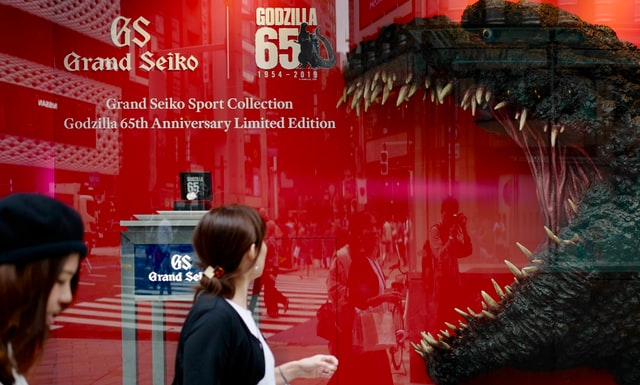 Godzilla display in business window