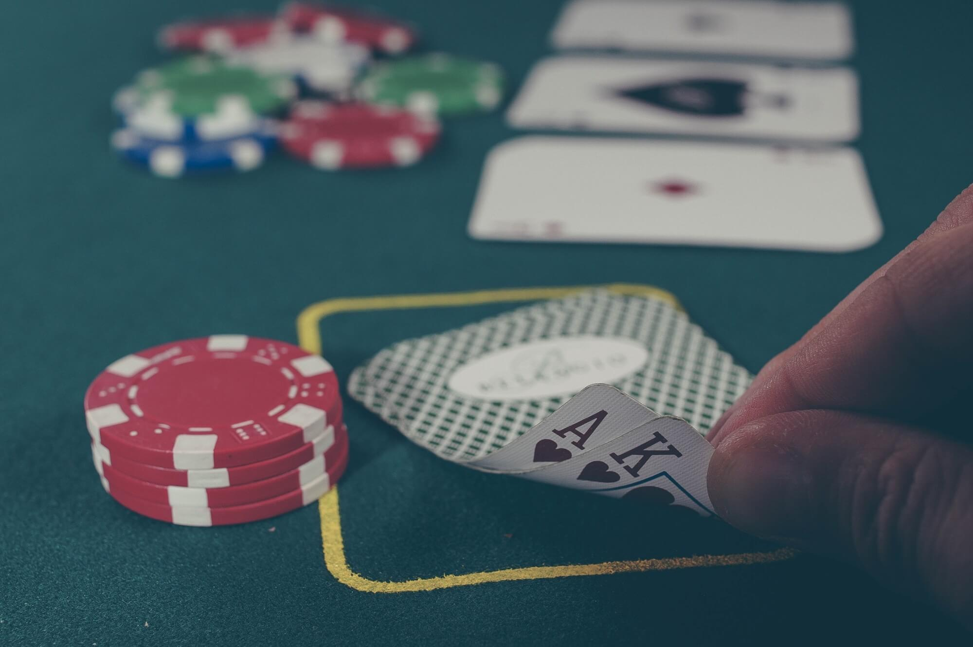 Close-up of poker hand with Ace and King