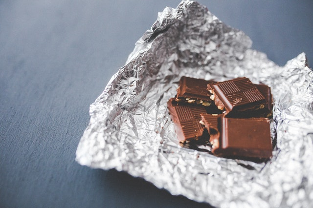Chocolate squares in foil